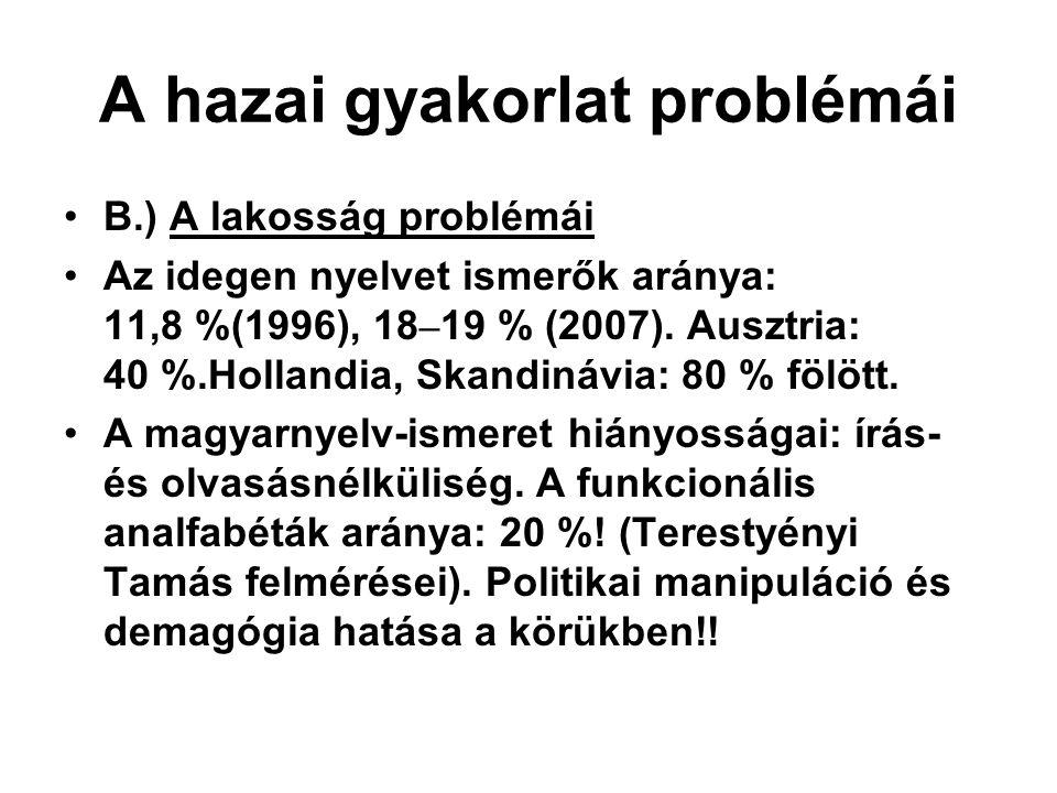 A hazai gyakorlat problémái