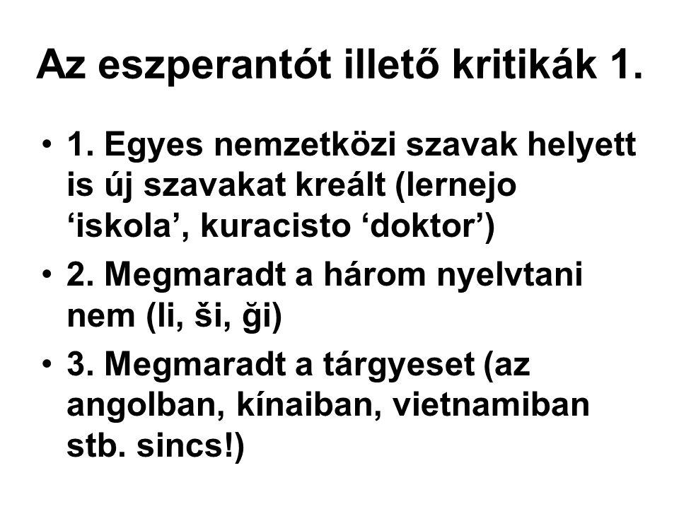 Az eszperantót illető kritikák 1.