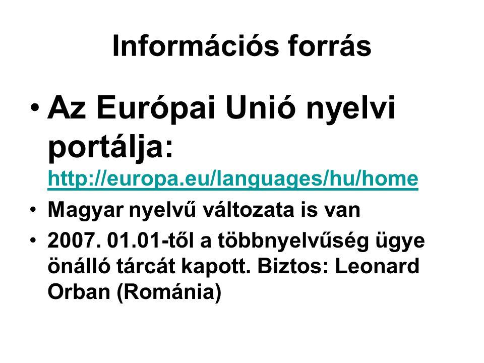 Az Európai Unió nyelvi portálja: http://europa.eu/languages/hu/home