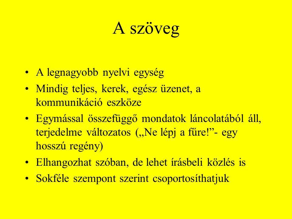 A szöveg A legnagyobb nyelvi egység