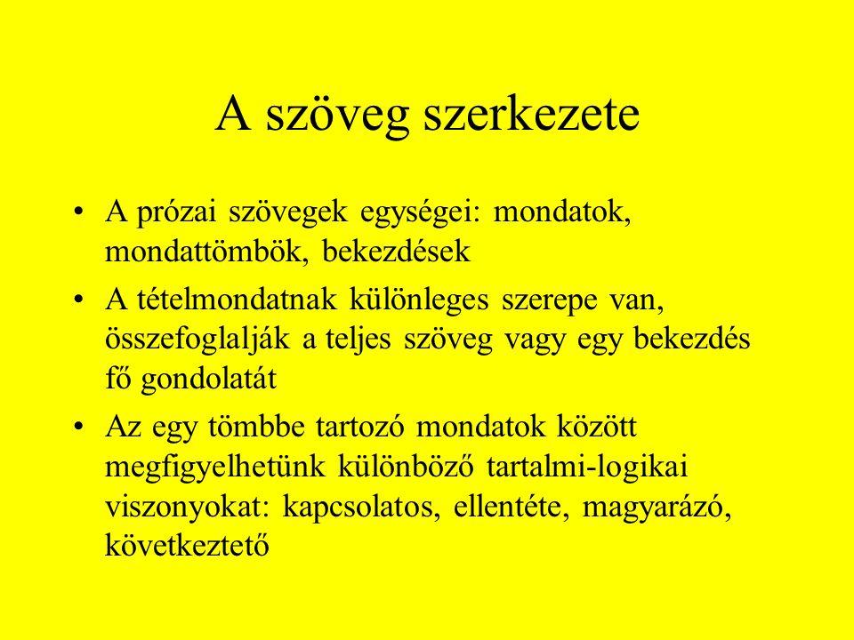 A szöveg szerkezete A prózai szövegek egységei: mondatok, mondattömbök, bekezdések.