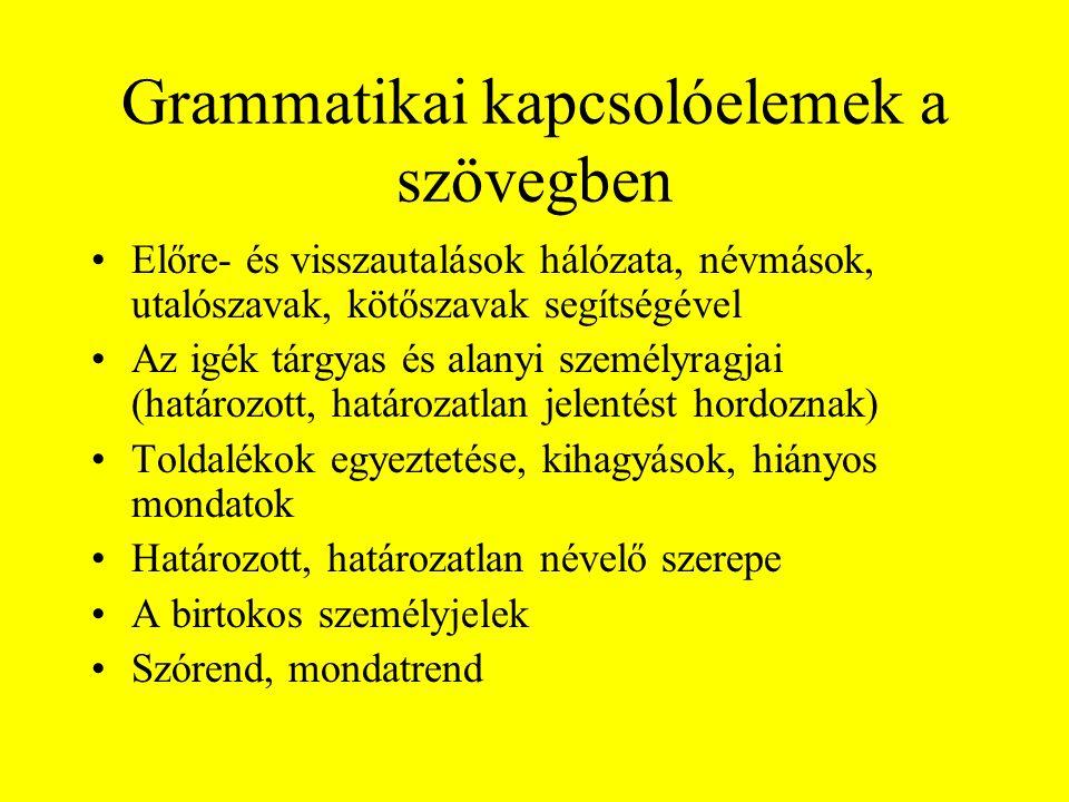 Grammatikai kapcsolóelemek a szövegben