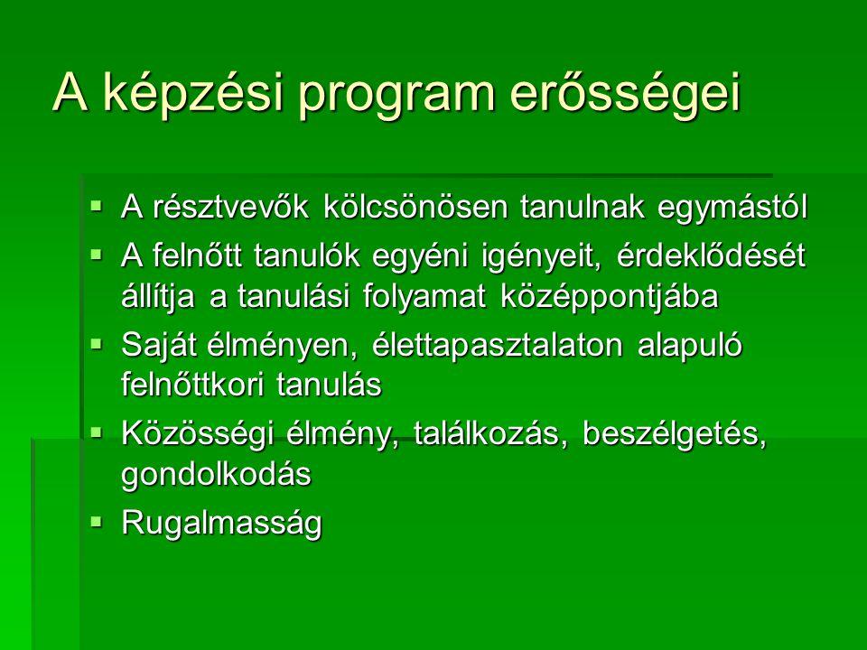 A képzési program erősségei