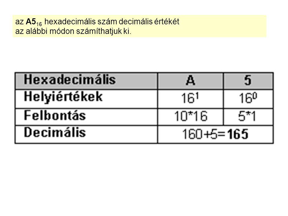 az A516 hexadecimális szám decimális értékét