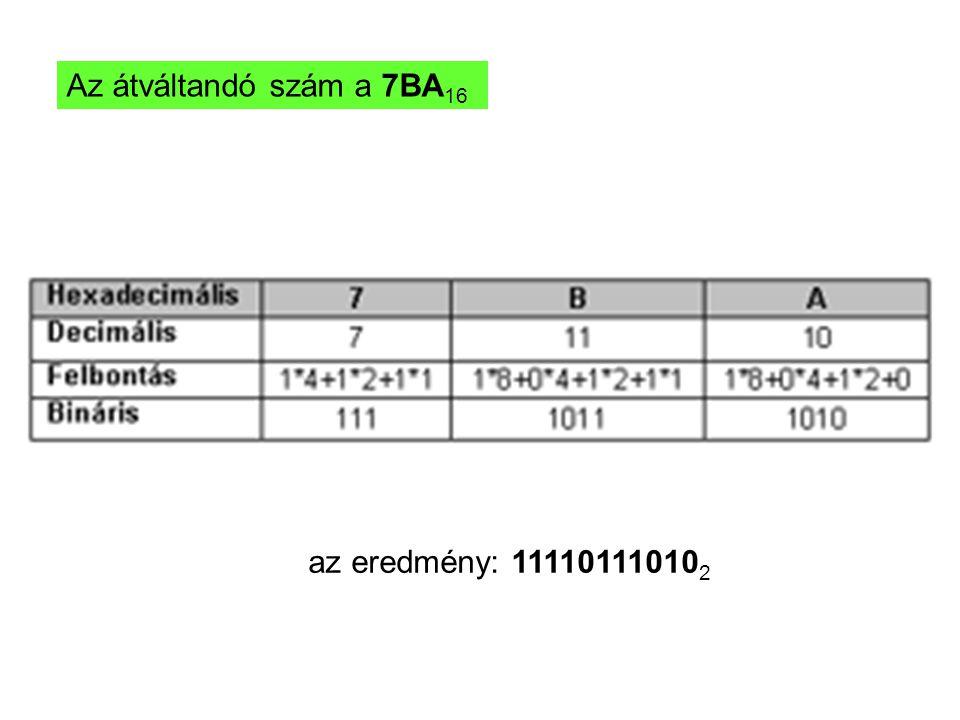 Az átváltandó szám a 7BA16 az eredmény: 111101110102