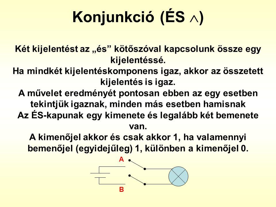 """Konjunkció (ÉS ) Két kijelentést az """"és kötőszóval kapcsolunk össze egy kijelentéssé."""