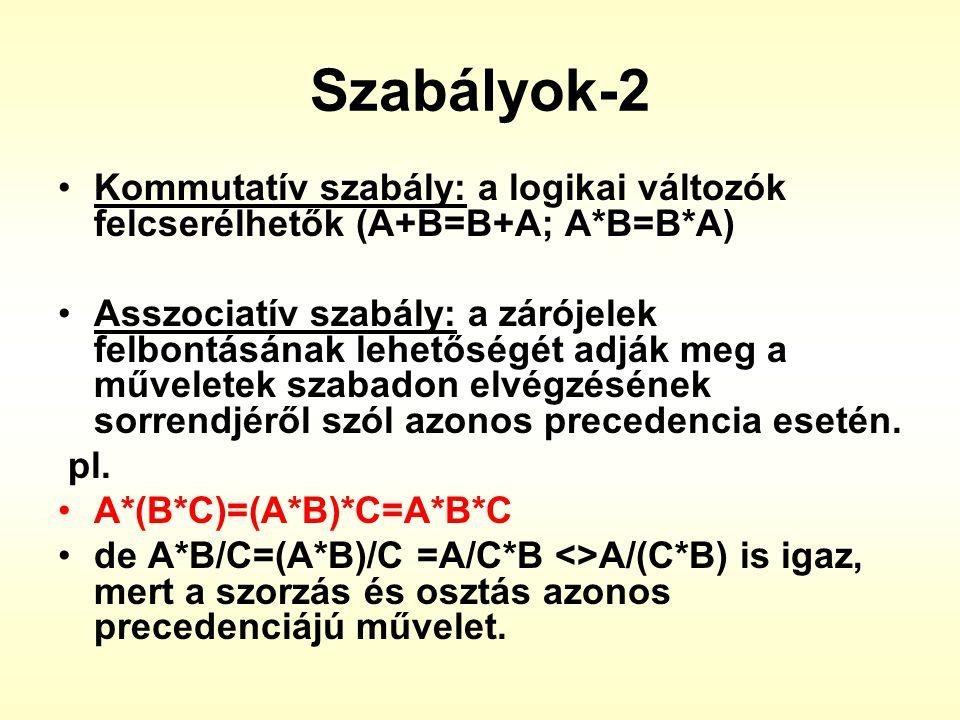 Szabályok-2 Kommutatív szabály: a logikai változók felcserélhetők (A+B=B+A; A*B=B*A)