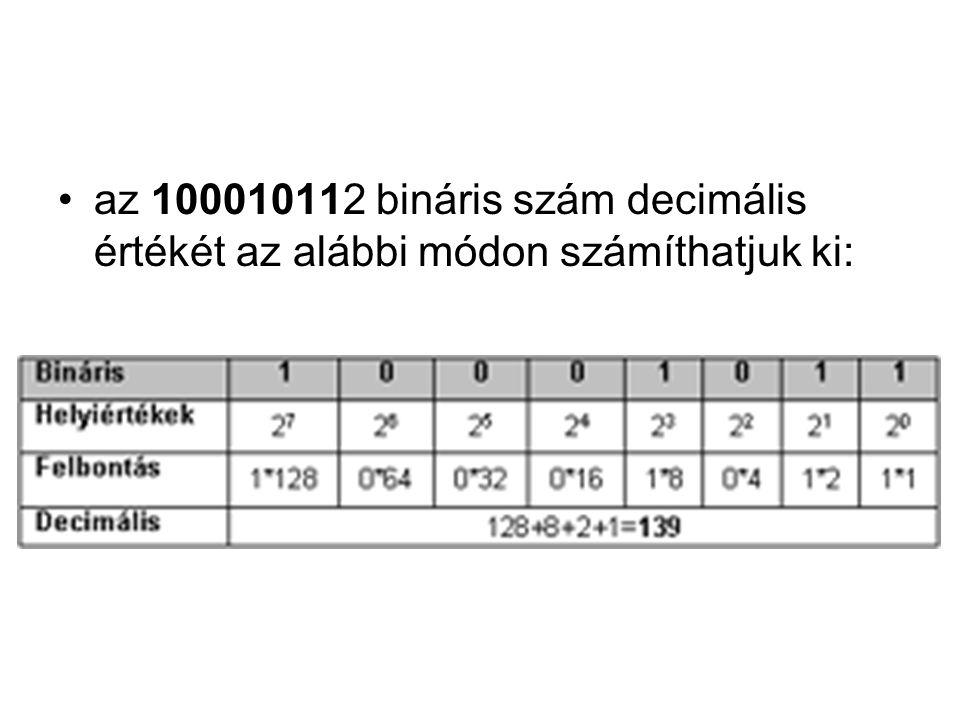 az 100010112 bináris szám decimális értékét az alábbi módon számíthatjuk ki:
