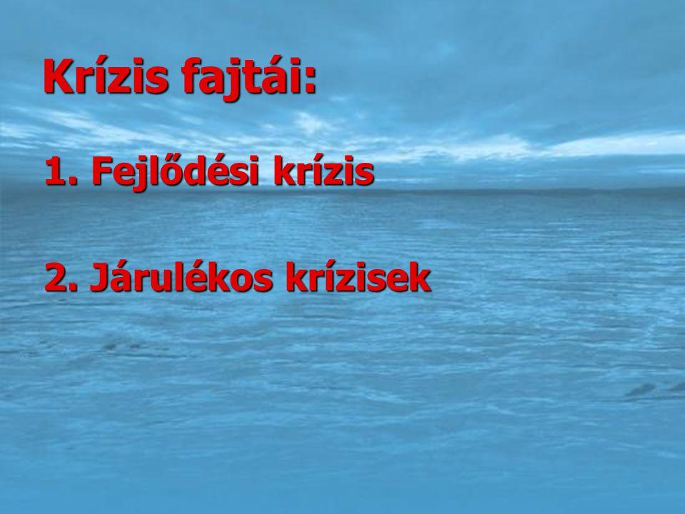 Krízis fajtái: 1. Fejlődési krízis 2. Járulékos krízisek