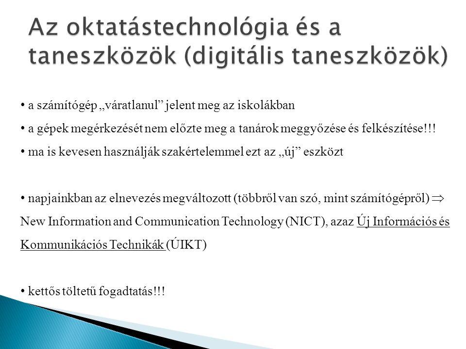 Az oktatástechnológia és a taneszközök (digitális taneszközök)