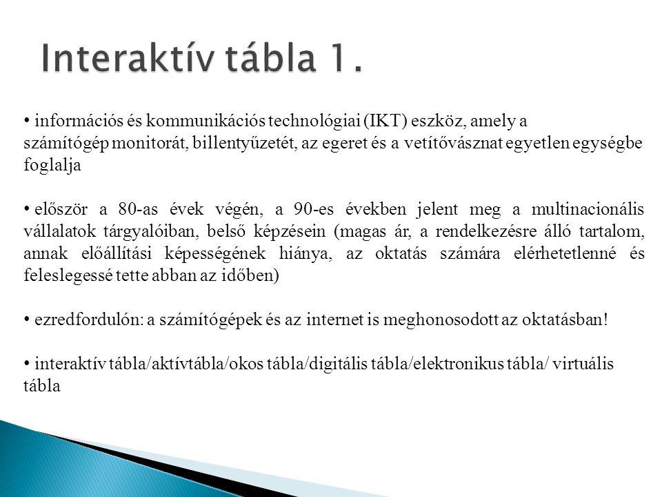 Interaktív tábla 1. információs és kommunikációs technológiai (IKT) eszköz, amely a.