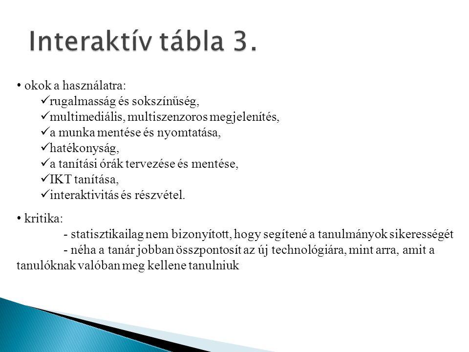 Interaktív tábla 3. okok a használatra: rugalmasság és sokszínűség,