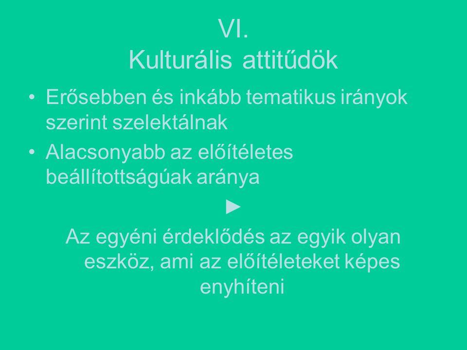 VI. Kulturális attitűdök