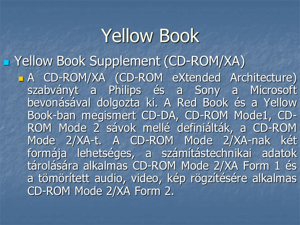 Yellow Book Yellow Book Supplement (CD-ROM/XA)