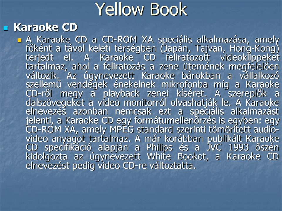 Yellow Book Karaoke CD.