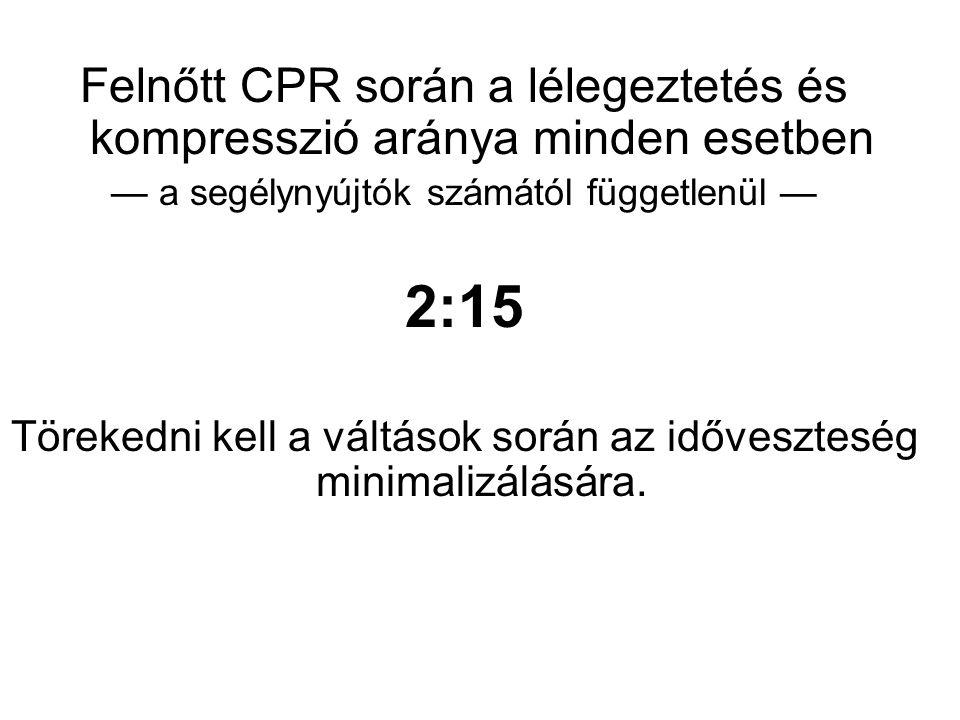 Felnőtt CPR során a lélegeztetés és kompresszió aránya minden esetben