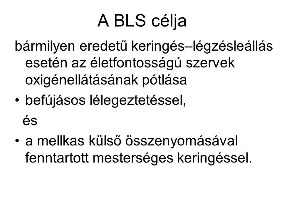 A BLS célja bármilyen eredetű keringés–légzésleállás esetén az életfontosságú szervek oxigénellátásának pótlása.