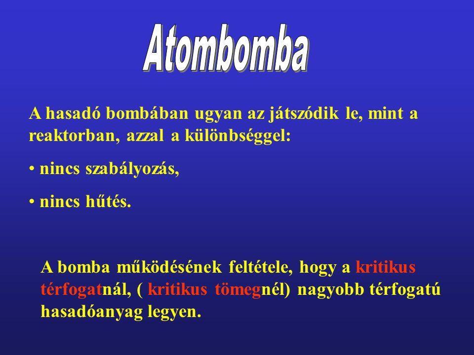 Atombomba A hasadó bombában ugyan az játszódik le, mint a reaktorban, azzal a különbséggel: nincs szabályozás,