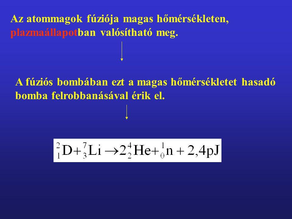 Az atommagok fúziója magas hőmérsékleten, plazmaállapotban valósítható meg.