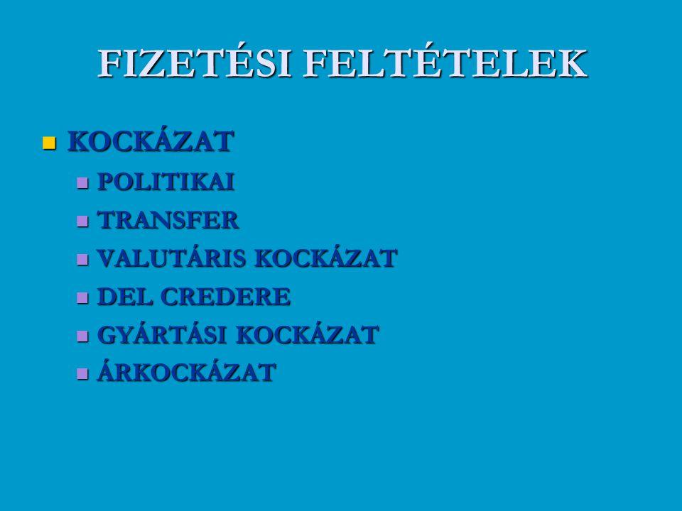 FIZETÉSI FELTÉTELEK KOCKÁZAT POLITIKAI TRANSFER VALUTÁRIS KOCKÁZAT