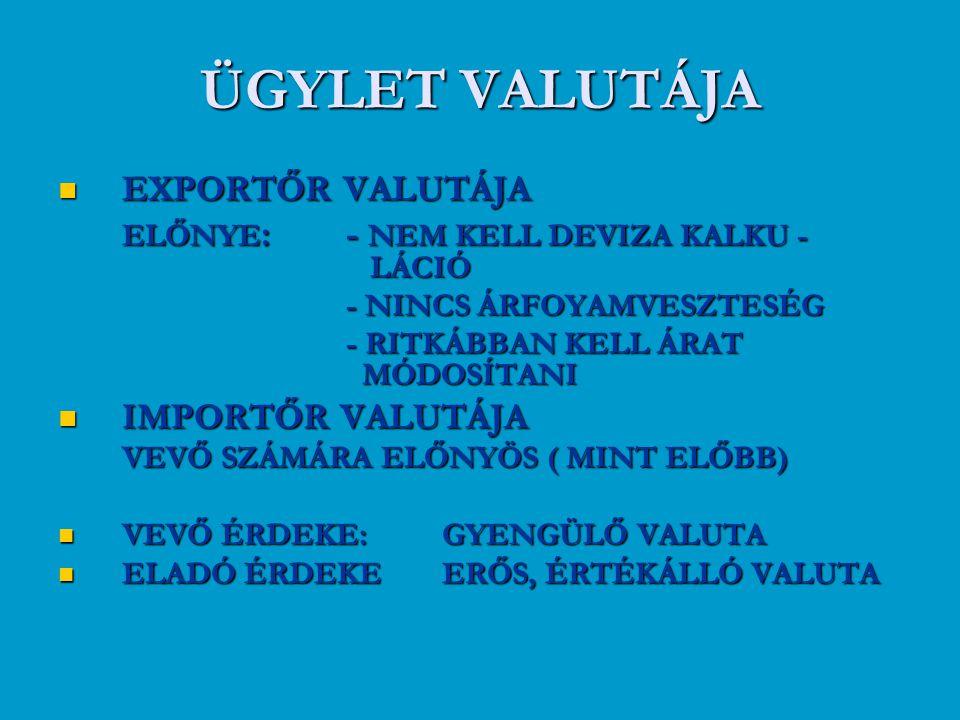 ÜGYLET VALUTÁJA EXPORTŐR VALUTÁJA