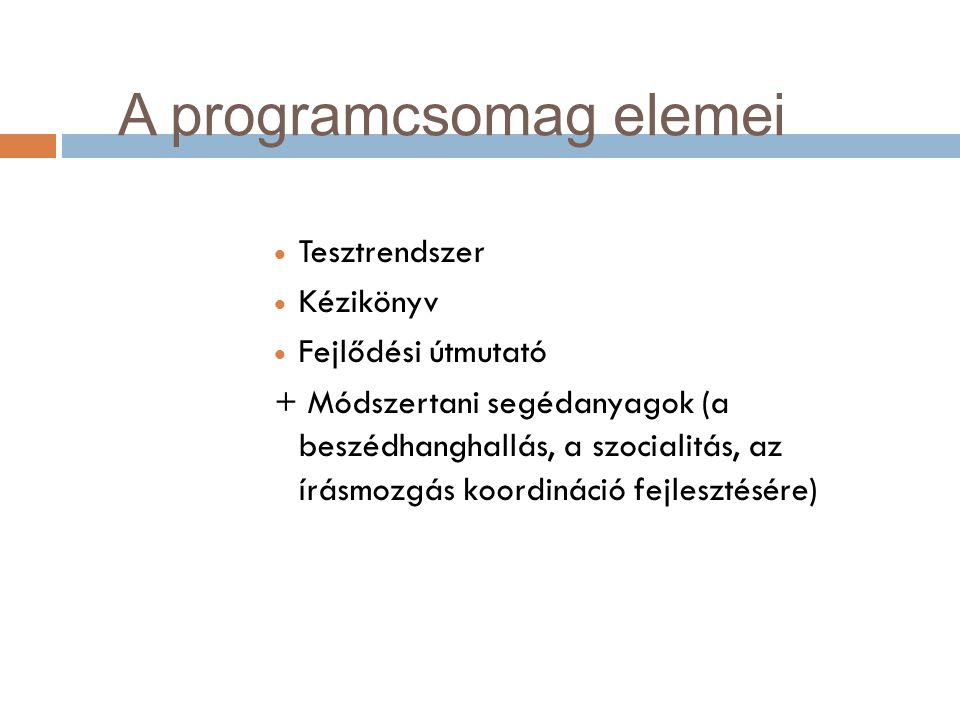 A programcsomag elemei