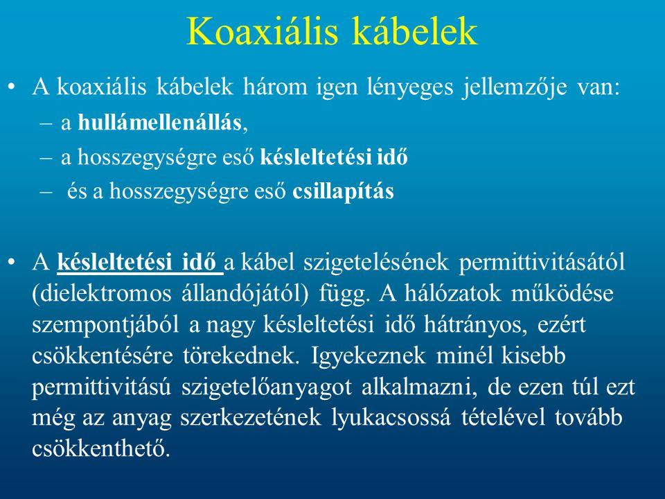 Koaxiális kábelek A koaxiális kábelek három igen lényeges jellemzője van: a hullámellenállás, a hosszegységre eső késleltetési idő.