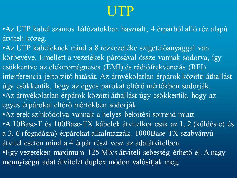 UTP Az UTP kábel számos hálózatokban használt, 4 érpárból álló réz alapú átviteli közeg.