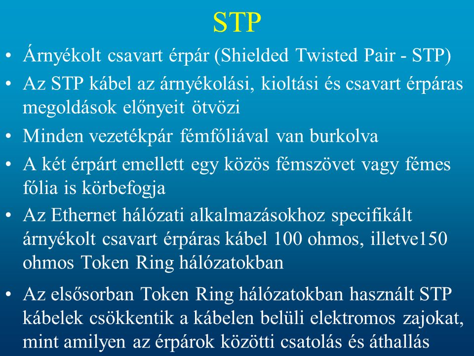 STP Árnyékolt csavart érpár (Shielded Twisted Pair - STP)