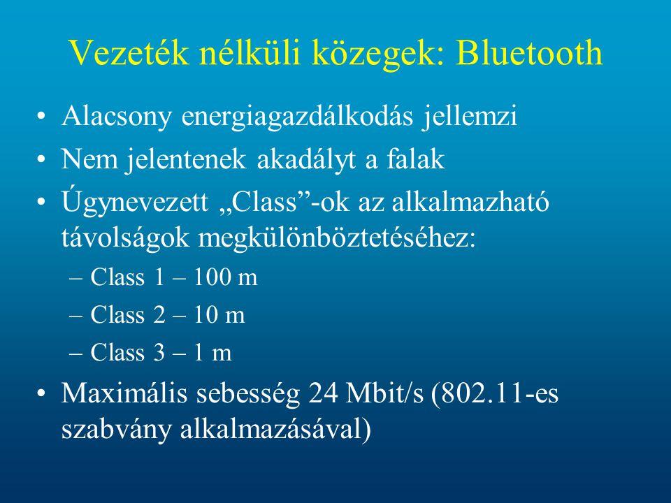 Vezeték nélküli közegek: Bluetooth