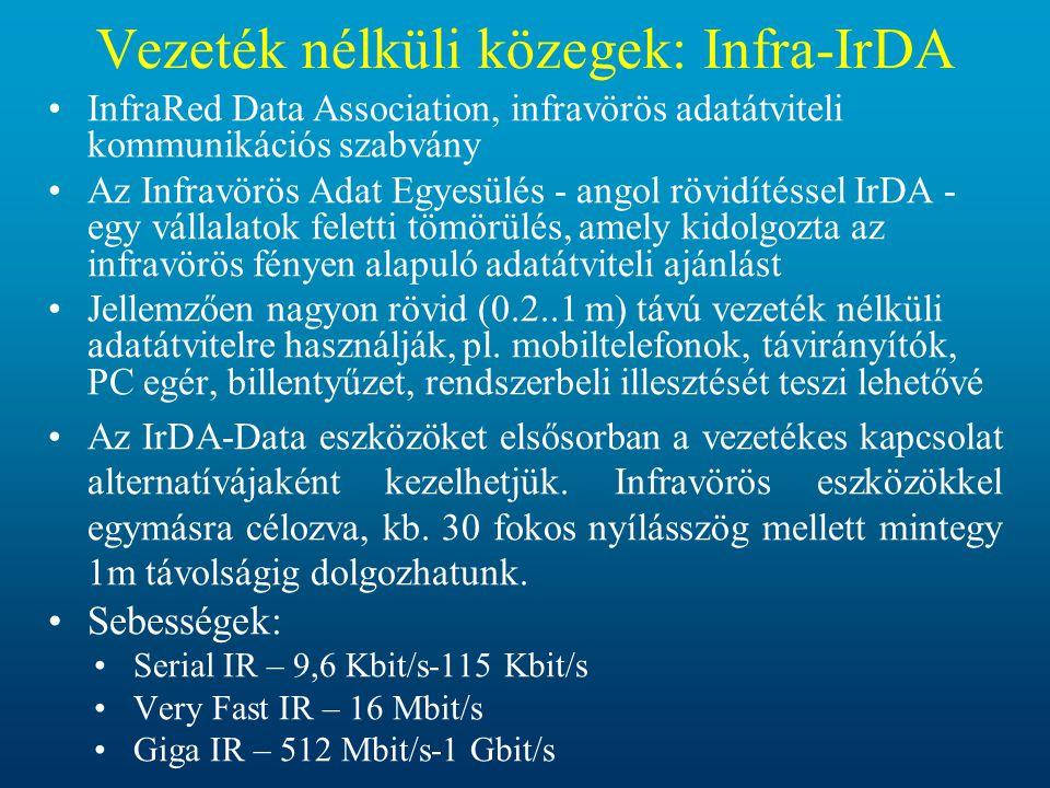 Vezeték nélküli közegek: Infra-IrDA