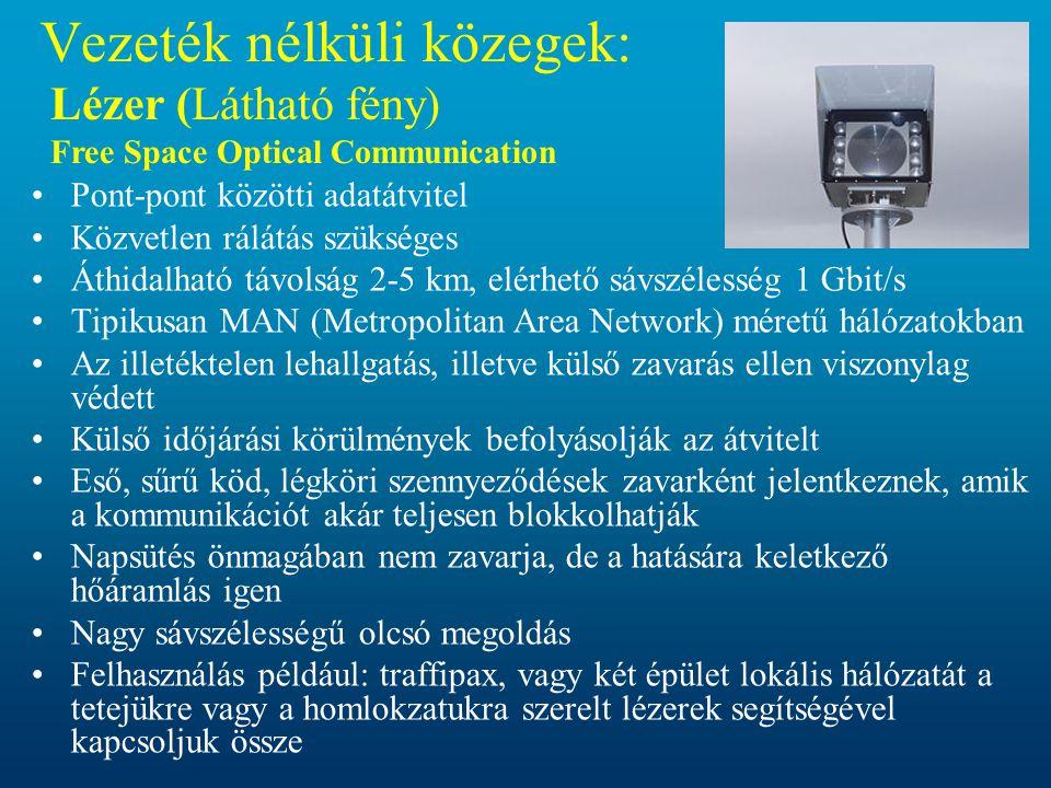 Vezeték nélküli közegek: Lézer (Látható fény) Free Space Optical Communication
