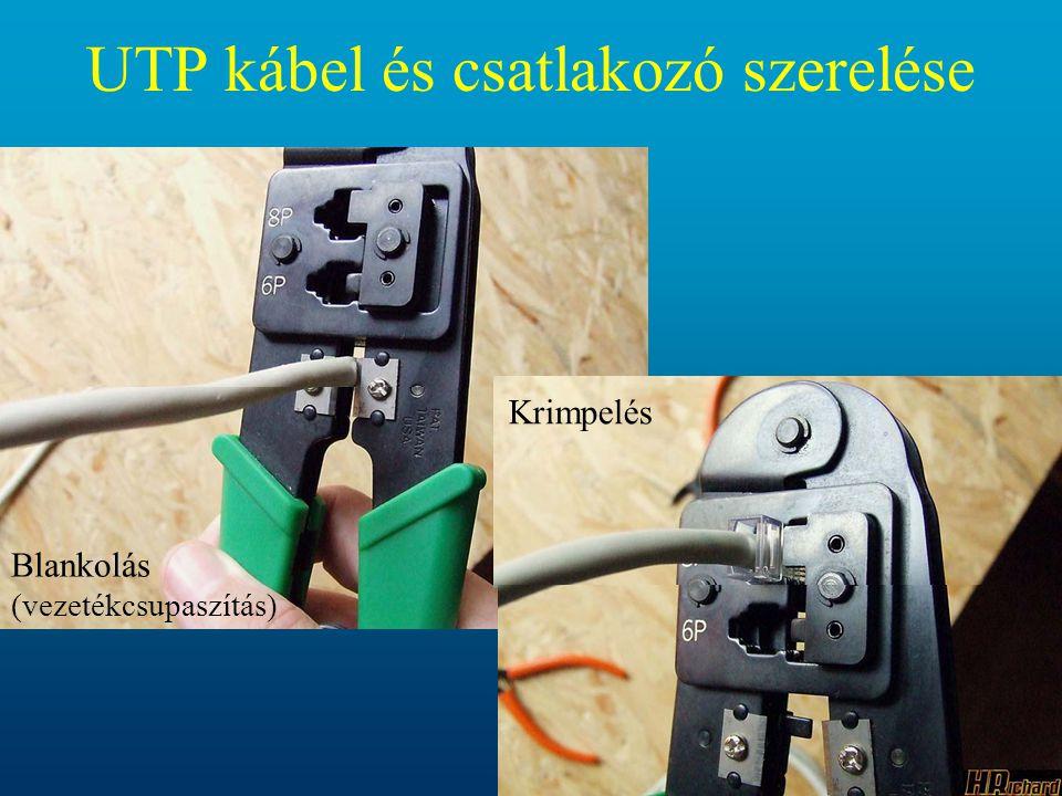 UTP kábel és csatlakozó szerelése