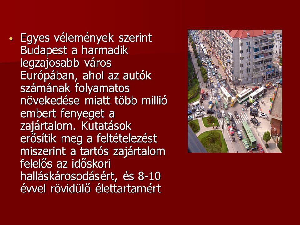 Egyes vélemények szerint Budapest a harmadik legzajosabb város Európában, ahol az autók számának folyamatos növekedése miatt több millió embert fenyeget a zajártalom.