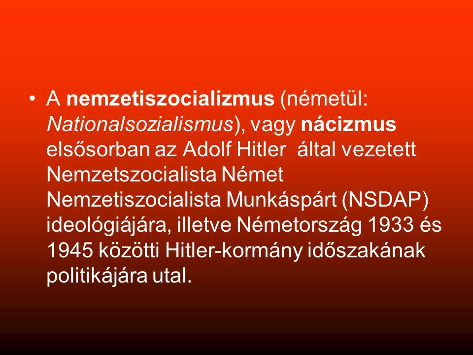 A nemzetiszocializmus (németül: Nationalsozialismus), vagy nácizmus elsősorban az Adolf Hitler által vezetett Nemzetszocialista Német Nemzetiszocialista Munkáspárt (NSDAP) ideológiájára, illetve Németország 1933 és 1945 közötti Hitler-kormány időszakának politikájára utal.