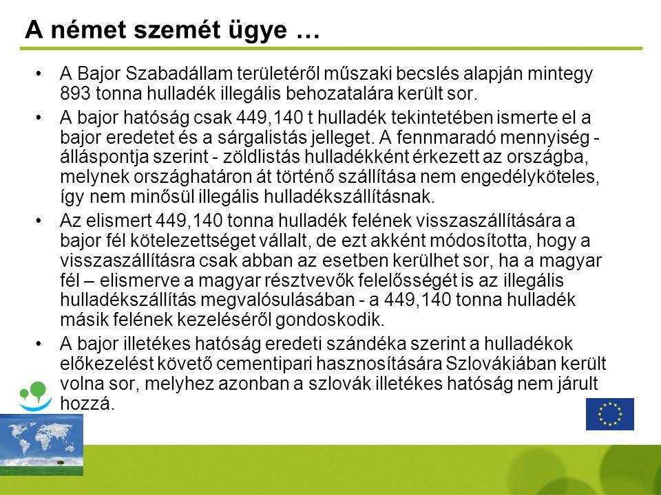 A német szemét ügye … A Bajor Szabadállam területéről műszaki becslés alapján mintegy 893 tonna hulladék illegális behozatalára került sor.