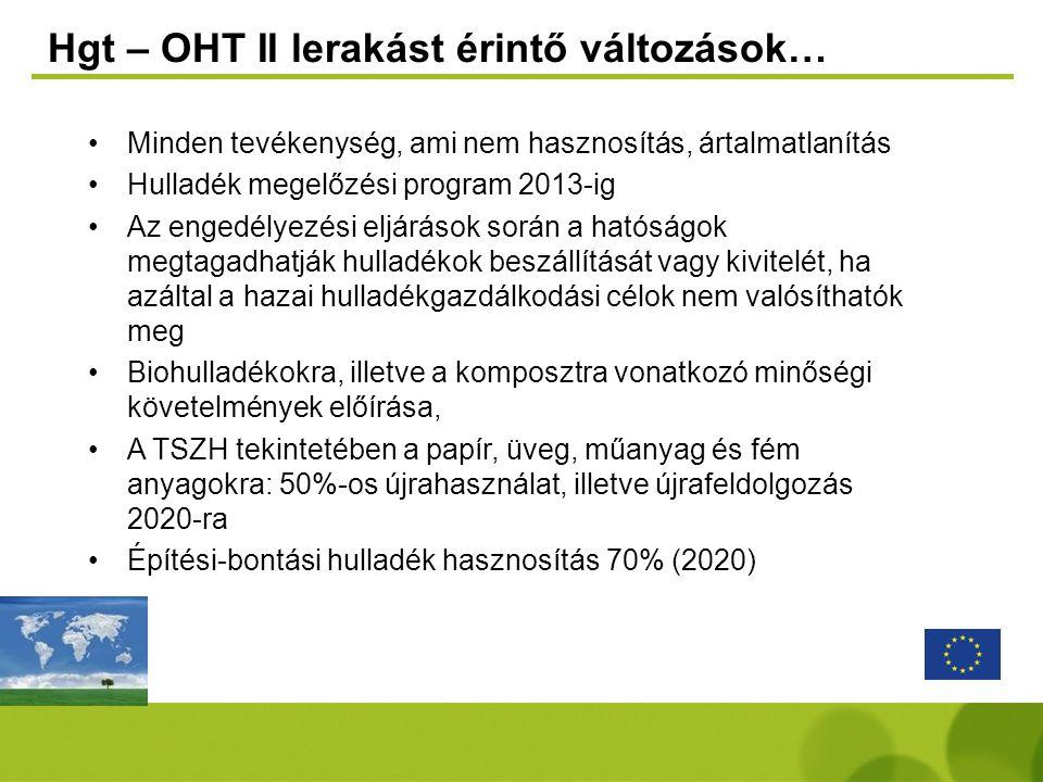 Hgt – OHT II lerakást érintő változások…