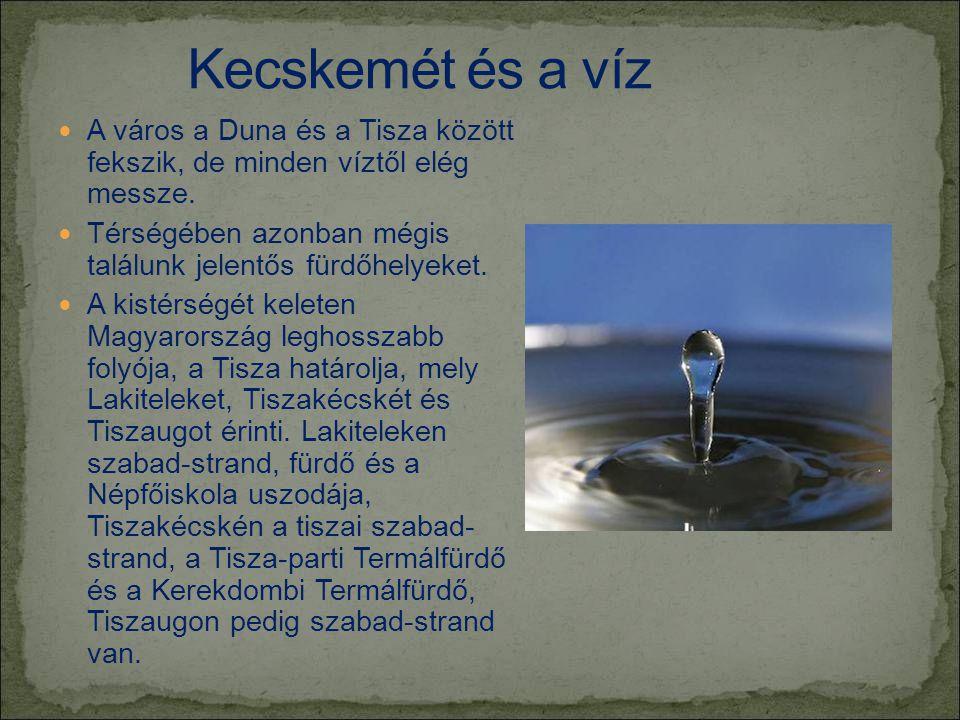 Kecskemét és a víz A város a Duna és a Tisza között fekszik, de minden víztől elég messze.