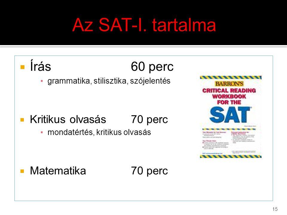 Az SAT-I. tartalma Írás 60 perc Kritikus olvasás 70 perc