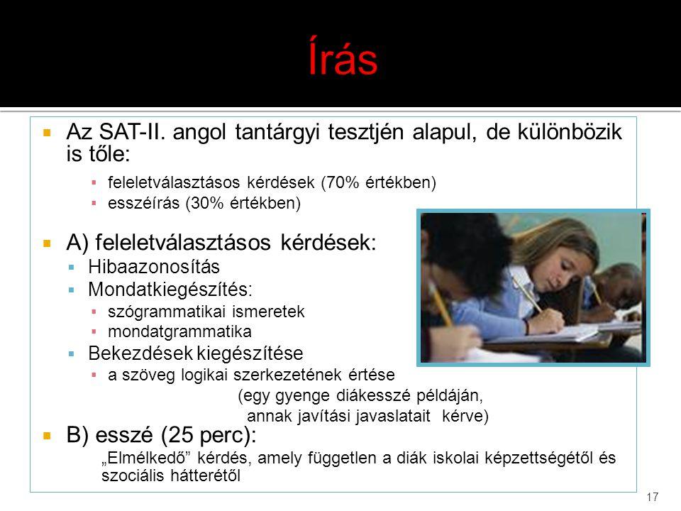 Írás Az SAT-II. angol tantárgyi tesztjén alapul, de különbözik is tőle: feleletválasztásos kérdések (70% értékben)