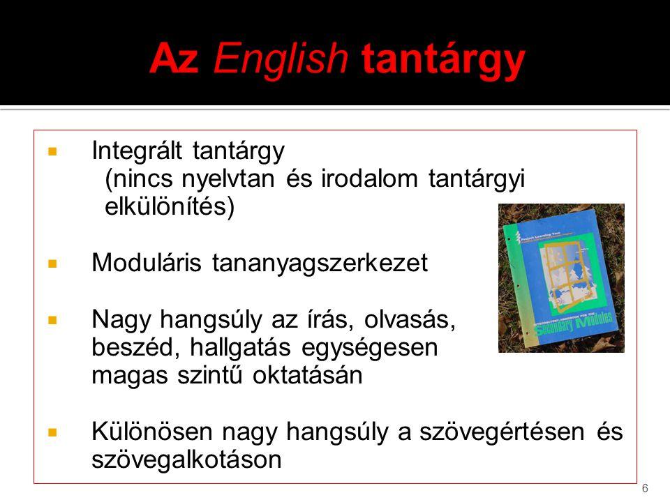 Az English tantárgy Integrált tantárgy