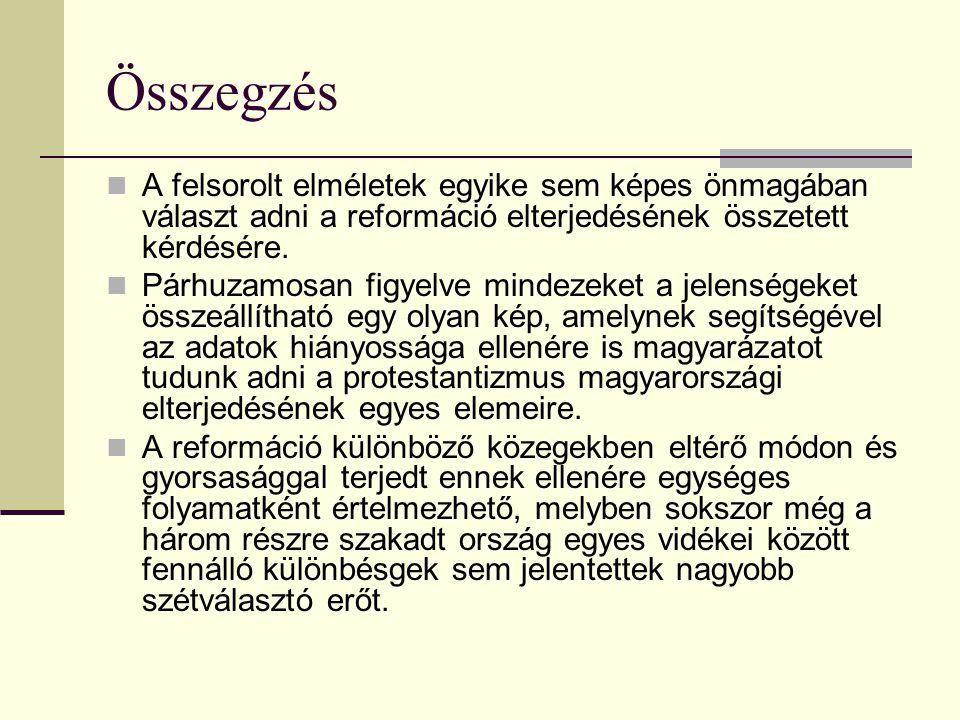 Összegzés A felsorolt elméletek egyike sem képes önmagában választ adni a reformáció elterjedésének összetett kérdésére.