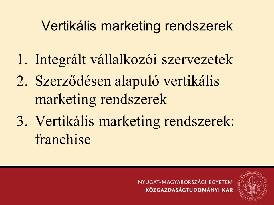 Vertikális marketing rendszerek