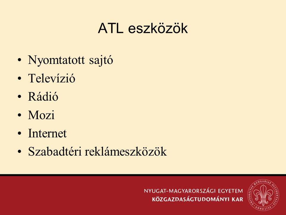 ATL eszközök Nyomtatott sajtó Televízió Rádió Mozi Internet