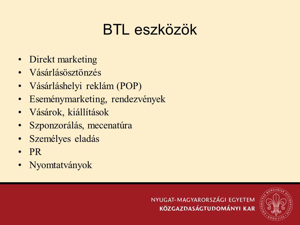 BTL eszközök Direkt marketing Vásárlásösztönzés