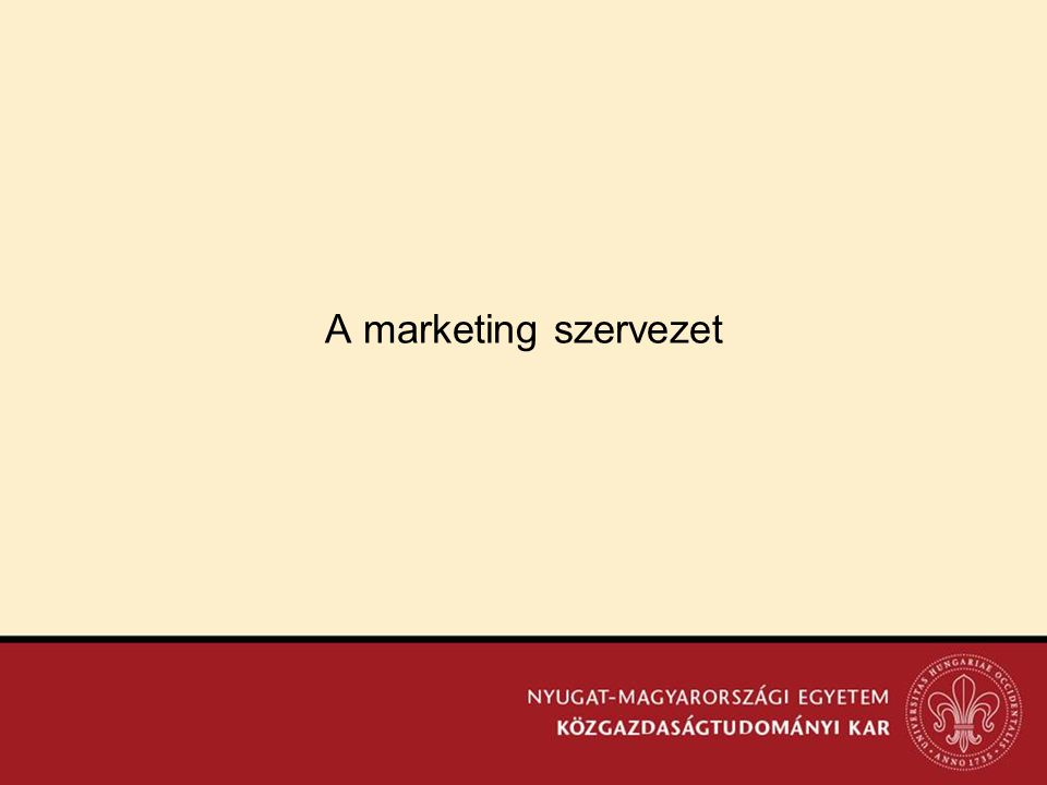 A marketing szervezet