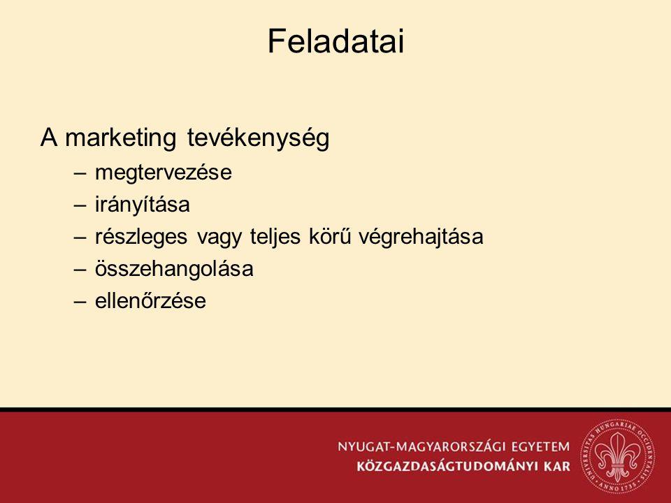 Feladatai A marketing tevékenység megtervezése irányítása