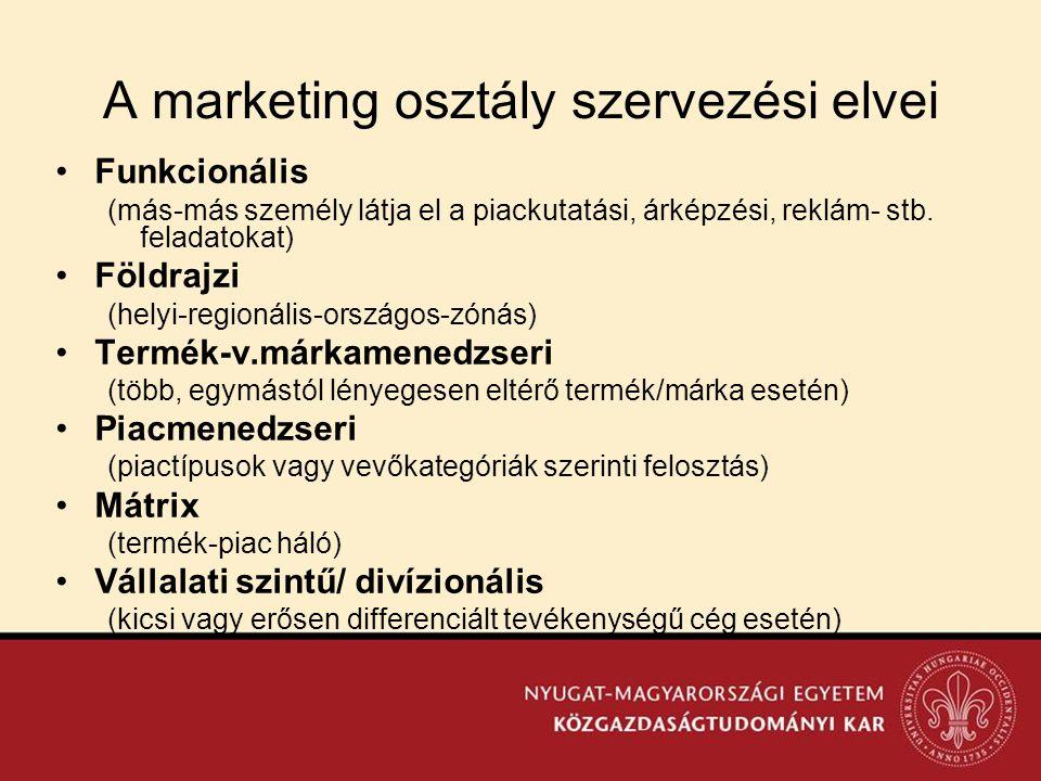 A marketing osztály szervezési elvei