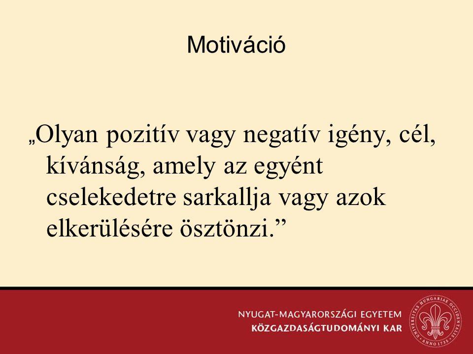 """Motiváció """"Olyan pozitív vagy negatív igény, cél, kívánság, amely az egyént cselekedetre sarkallja vagy azok elkerülésére ösztönzi."""