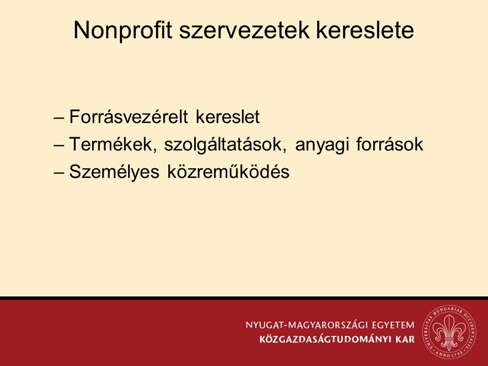 Nonprofit szervezetek kereslete